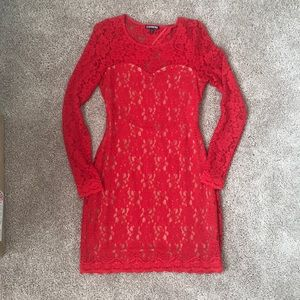 Express Red long sleeve lace dress